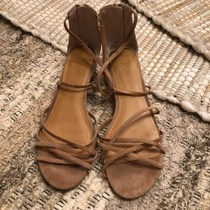 J. Crew Tan Suede Strappy Flat Sandals!